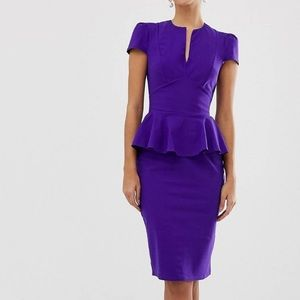 New Capped Sleeve Midi Dress with Peplum Detail